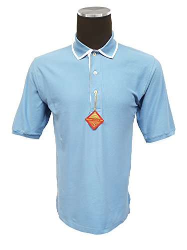 - Outer Banks Men's Egyptian Diamond Knit Intarsia Collar Polo, Blue/White, S