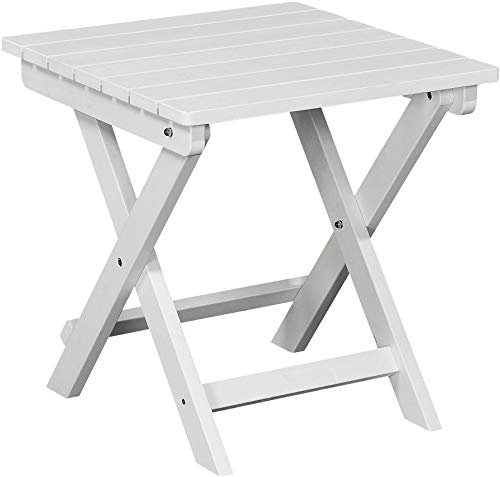 PolyTEAK Folding Side Table, Powder White - Looks Like Wood - All Weather Waterproof Material - Poly Resin Side Table - Foldable Table - Feels Like Teak