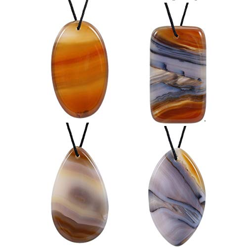 umbled Thumb Worry Stone Pendant Set, Healing Chakra Crystals for Jewelry Making, Assorted Shaped Agate, Pack of 4 ()