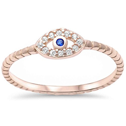(Evil Eye Simulated Blue Sapphire & Cubic Zirconia Fashion Ring Yellow Gold Plated Size 8)