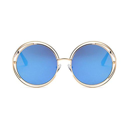 Protection femmes Metal par pour Unisexe Hinge Blue UV rondes Steampunk Spring soleil de hommes Vintage Lunettes 400 GAOLIXIA Frame xfAqwT46W