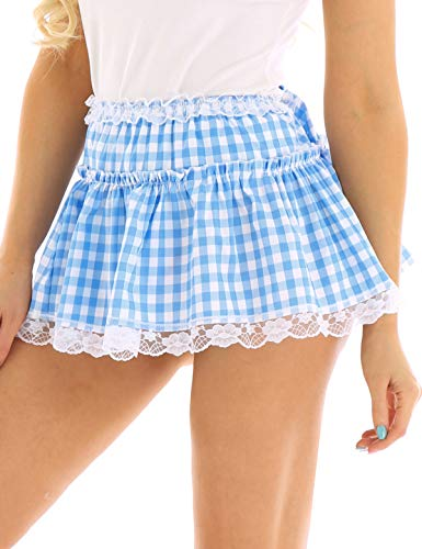 iiniim Women Anime Role Play Mini Plaid Lace Cosplay Skirt Sexy Schoolgirl Lingerie Light Blue Medium