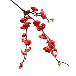 YJYdada Artificial Fake Flowers Plum Blossom Floral Wedding Bouquet Home Decor (Red) 3