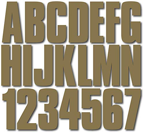"Stiffie Uniline Metallic Gold 3"" ID Kit Alpha-Numeric Registration Identification Numbers Stickers Decals for Boats & Personal Watercraft"