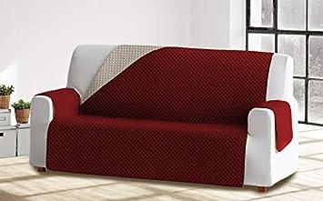 Cabetex Home - Cubre sofá Reversible Bicolor con ajustes - Microfibra Acolchada Antimanchas (Burdeos/Crema, 2 Plazas)