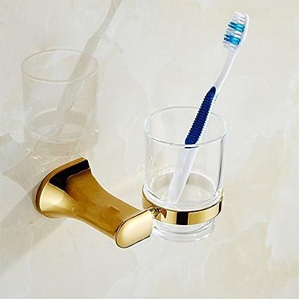 CNBBGJ Baño cepillo para colgar en la pared, llena la copa de oro, cobre