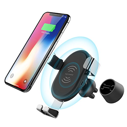 Fast Car Wireless Charger, TMXP One Touch Car Windshield/Dashboard/Air Vent Qi Charger Mount iPhone X 8 8 Plus Samsung Galaxy S8 S8 Plus Note 8 LG G2 More (2018 New Upgrade) by Racepro