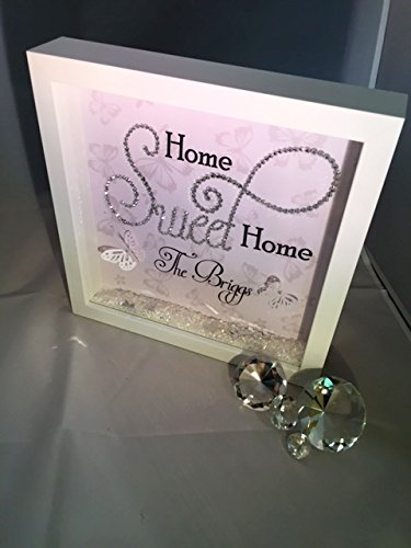 Home Sweet Home Sparkle Crystal Frame Word Art Pictures Quotes
