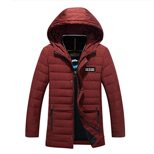 YANXH Winter The New Men Down jacket In the long Section Hooded Keep warm Coat , red , m by YANXH outdoors