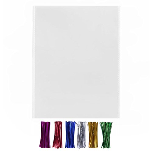 200 Large Cello Bags 11x14 with Twist Ties 6 Mix Colors - 1.4mils Thickness OPP Flat Plastic Bags for Christmas Wedding Gift Basket Supplies (11'' x 14'')