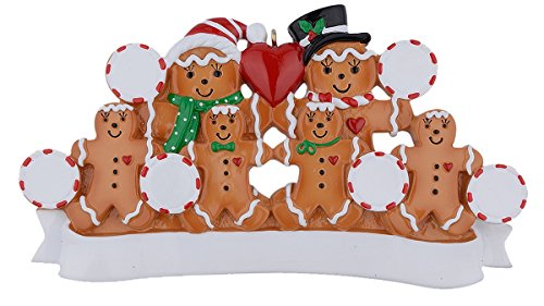MAXORA Personalized Christmas Ornament Gingerbread Family ()