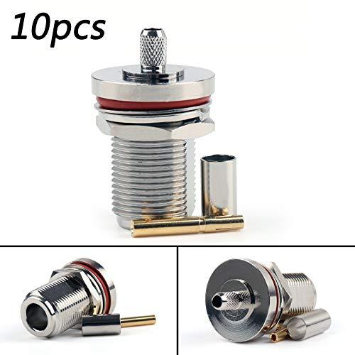 - Areyoushop 10Pcs Connector N Female Jack Bulkhead Window Crimp RG58 RG142 LMR195 Cable