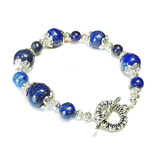 Lapis Lazuli Tibetan Silver-Tone Bracelet B 20.5cm