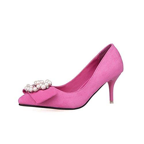 Pointu Aalardom Femme Unie Cramoisi Stylet Chaussures Légeres Couleur Suédé bijou OSFXOg