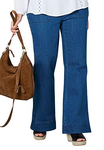 Ellos Women's Plus Size High-Waist Wide Leg Jeans - Stonewash, 20