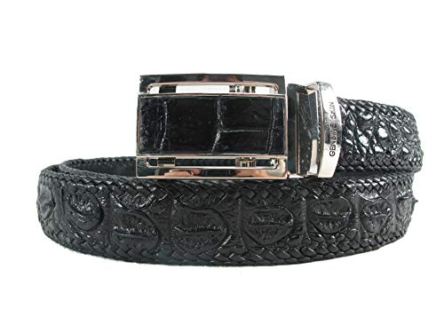 (PELGIO Genuine Crocodile Alligator Backbone Skin Leather Handmade Belt 46