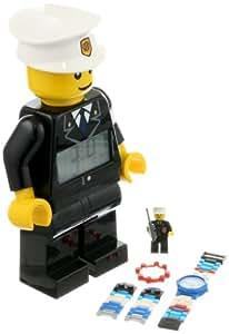 Lego Kid's 9009938 City Policeman Minifigure Clock and Watch Set