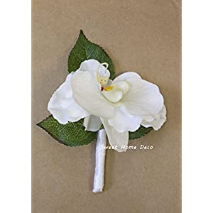 Sweet Home Deco 8''W Silk White Floral Wedding Bouquet Bridal Bouquet Bridesmaid Bouquet Boutonniere (White-Orchid Boutonniere) 59