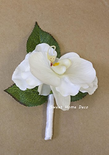 Sweet Home Deco 8''W Silk White Floral Wedding Bouquet Bridal Bouquet Bridesmaid Bouquet Boutonniere (White-Orchid Boutonniere) (White Orchid Boutonniere)