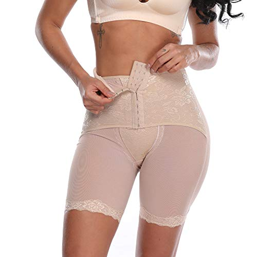MISS MOLY Women Butt Lifter Shapewear Hi-Waist Double Tummy Control Panty Waist Trainer Thigh Slimmer Body Shaper Beige XL