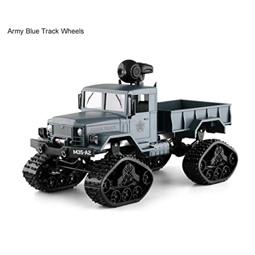 Yezijin Remote Control Car, RC Military Truck with WiFi Camera 4WD 1/16 Army Crawler Offroad Car APP Control (Green)