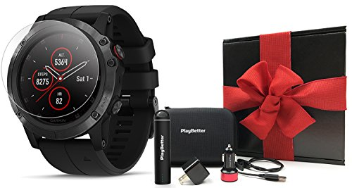 Garmin fenix 5X Plus Sapphire Black Gift Box Bundle with Screen Protectors, PlayBetter Portable Charger, USB Adapters Case Multisport GPS Watch, PulseOx, ClimbPro, Garmin Pay, Music Spotify