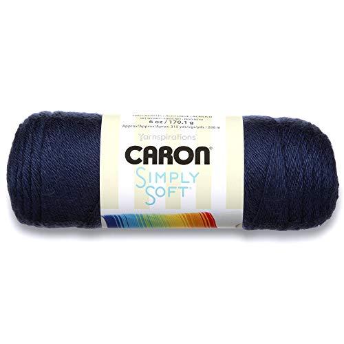 Caron Simply Soft Solids Yarn (4) Medium Gauge 100% Acrylic - 6 oz -  Dark Country Blue  -  Machine Wash & Dry (4 Yarn)