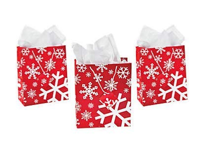 Medium Red & White Snowflake Gift Bags with Tags