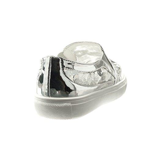 Angkorly - damen Schuhe Sneaker - Plateauschuhe - glitzer Keilabsatz 2.5 CM - Silber