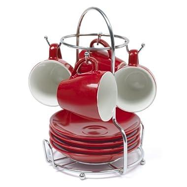 Imusa A120-22179 Red Stoneware Espresso Set with Chrome Rack, 8 piece