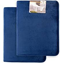 "Memory Foam Bathrug 2 Pack Set - Royal Blue - Bath Mat and Shower Rug Small 17"" x 24"" Inches, Non Slip Latex Free Plush Microfiber. Comfortable, Beautiful and Maximum Absorbency."