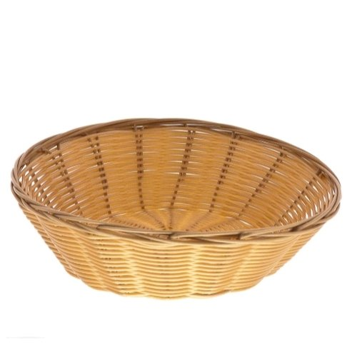Update International Round Woven Bread Roll Baskets, Food Serving Baskets, Polypropylene Material BB-8R, Set of 12, Beige Woven Serving Baskets
