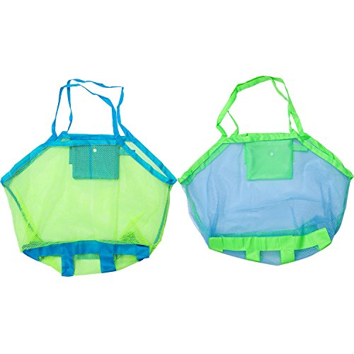 Boao 2 Colors Large Mesh Beach Toy Bags Foldable Toy Storage Bag for Kids (Colour Mesh)