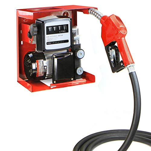 STKUSA 110V Electric Diesel Oil Fuel Transfer Pump w/Meter + Discharge Hose & Nozzle Set, Red