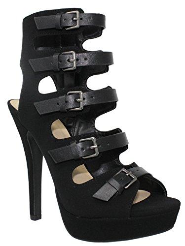 Mes Délicieuses Chaussures Délicieuses Shoppy Patron Plateforme Féminine Lacets Talons Noir * W