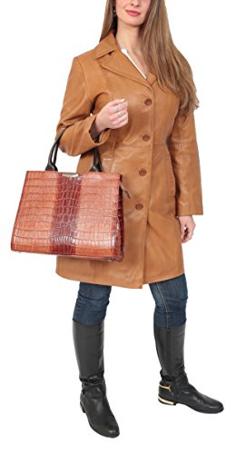 A51 Shoulder New Handbag Multi Womens Compartment Finish Real Tote Leather Tan Croc PwzqrfPx