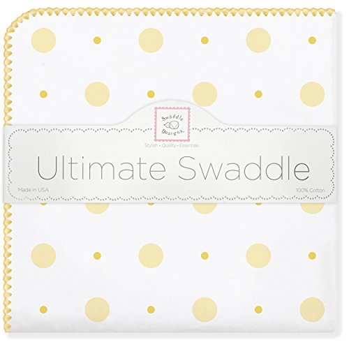 SwaddleDesigns Ultimate Swaddle, X-Large Receiving Blanket, Made in USA Premium Cotton Flannel, Yellow Big Dot Little Dot (Mom's Choice Award Winner)