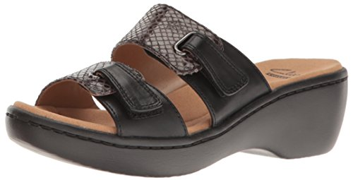 Slides Black Fenela Snake Leather Clarks Combo Delana Women's q6zxEItZ