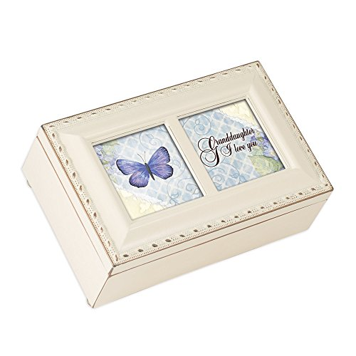 Cottage Garden Granddaughter I Love You Ivory Petite Music Box Plays Light Up My Life