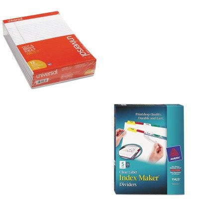KITAVE11423UNV20630 - Value Kit - Avery Index Maker Divider w/Multicolor Tabs (AVE11423) and Universal Perforated Edge Writing Pad (UNV20630) by Avery