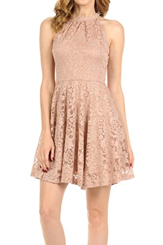 Auliné Collection Womens Halter Sleeveless Floral Lace Skater Dress Coco Small