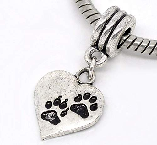 Charm Slider Pendants | Heart Antique Silver Footprint Pendant | Plated Pendant | European Style 3.1cm(1 2/8