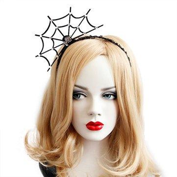 Halloween Party Princess Spider Web Hair Ornaments Toys Vintage Girl Tiara Fashion Lace Hair Bands - Hair Styling Tools & Salon Hair Clips - 1 x