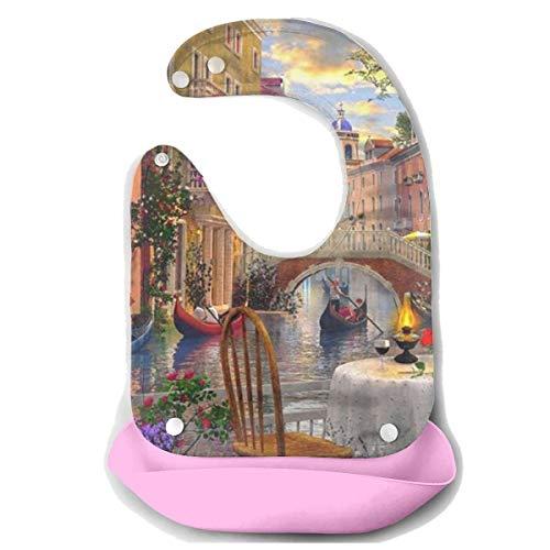 KZEMATLI Baby Bibs Novel Rue Di Rivoli Paris Prints Waterproof Silicone Bib for Easily Wipes Clean Comfortable Soft Adjustable ()