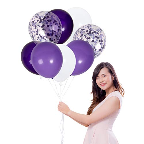 Treasures Gifted White and Purple Solid Balloons Purple Theme Confetti Balloons Kit for Mermaid Birthday Baby Shower Wedding Engagement Cocktail Party Supplies (42 Pack)