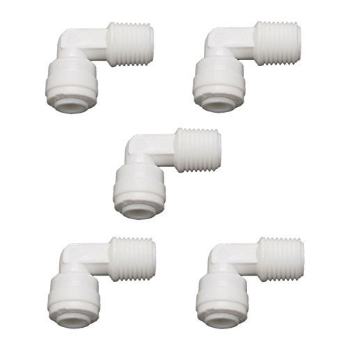Filter Fittings (Lemoy 1/4 inch Male Thread to 1/4 inch Tube Elbow Quick Connect Ro Reverse Osmosis water Filter Fitting Male Elbow Pack of 5)