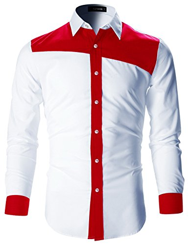 De Hombre Camisas Vestir Designer Sh194 Rojo Slim Flatseven Fit wxaqBIqg