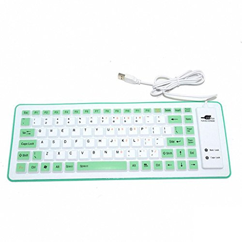 LIPPO Foldable Silicone Keyboard USB Wired Silicon Flexible Soft Waterproof Roll up Silica Gel Computer Desktop (88 Keys) Keyboard for PC Laptop Notebook in Library Office Class Home Car (Green)