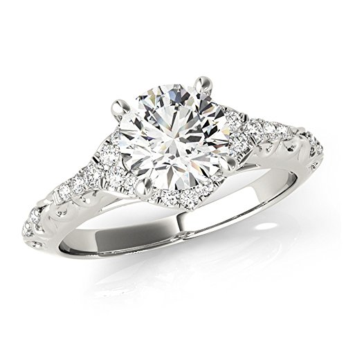 - Antique Style Art Deco Certified Diamond Engagement Ring 14k White Gold 1 1/10 TDW