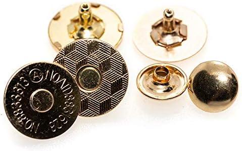 クラフトライフ マグネットホック ボタン 両面カシメ式 18mm 超薄型 1.5mm 30組 (ゴールド)